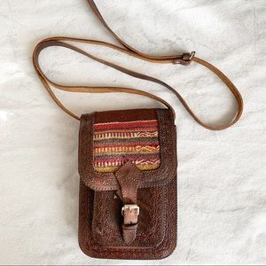 Boho Embroidered & Tooled Leather Mini Crossbody